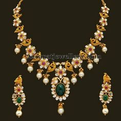 Jewellery Designs: Floral Peacock Necklace Pachi Design