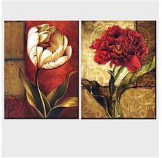 Hand Painted Modern Canvas Wall Painting Flower Oil Painting-Floral canvas Wall Art Stretched and Framed Ready to hang