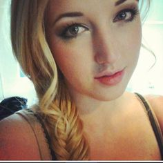 Blonde hair. Side fishtail braid. Easy work hair style for long hair.
