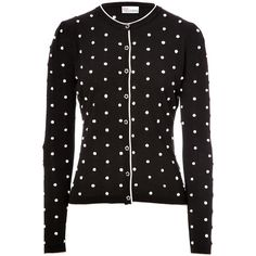 RED VALENTINO Cotton Polka Dot Knit Cardigan ($360) ❤ liked on Polyvore featuring tops, cardigans, sweaters, black, knit tops, long sleeve pullover, dot cardigan, long sleeve cotton tops and wet look top