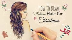 How to draw Festive Hair for Christmas - DebbyArts - YouTube ♡