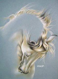 Beautiful painting of white horse Horse Drawings, Art Drawings, Painting & Drawing, Art Triste, Painted Horses, Horse Artwork, Horse Paintings, Pastel Paintings, Art Abstrait