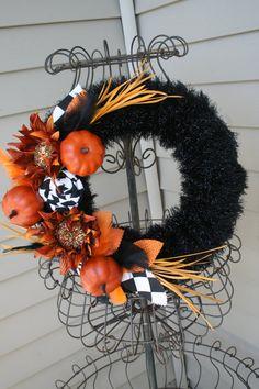 Fall Yarn Wreath/Halloween/Thanksgiving/Fabric by LizzyDesigns
