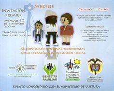 Diseño flyers. medios audiovisuales estrategias de inclusión social.