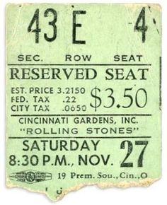 1965 Rolling Stones ticket stub from Cincinnati Gardens