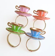 Miniature teacup ring - Alice in Wonderland - teacup ring - party favors - tea party
