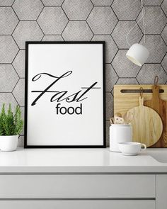 """Poster """"Fast food"""", Beautiful poster, Food Poster, Housewarming Gift, Food, To restaurant, Good fast food, Decoration for the kitchen by MerryGallery on Etsy Coffee Typography, Typography Prints, Quote Typography, Inspirational Posters, Motivational Quotes, Kitchen Prints, Nordic Interior, Beautiful Posters, But First Coffee"""