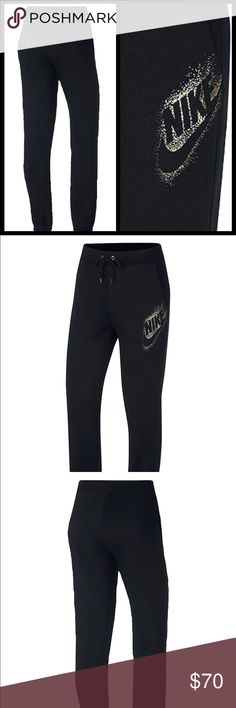 Metallic logo Nike joggers Adding a stylish touch  Black and gold Brushed back fleece Elastic waist band with drawstring  Pockets at sides Cotton polyester and rayon Lining cotton and viscose Pull on styling  Relaxed fit Brand new authentic with tags please know sizing in Nike products before purchase Nike prices are firm Nike Pants Track Pants & Joggers