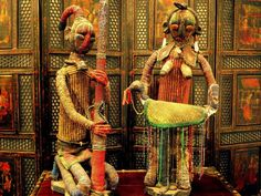 Vinage/Old Bamileke Beaded Couple Statues Cameroon African Art