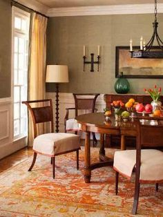 Rich Green Formal Dining Room In the dining room botanical prints