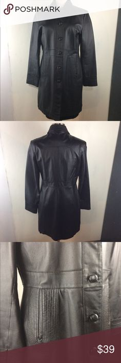 Retro Leather Coat M Retro style leather coat from Colebrook. Stitching detail around pockets and cuffs. The buttons are peeling some but otherwise very nice! Colebrook Jackets & Coats