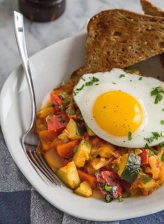 Recipe: Eggs with Summer Tomatoes, Zucchini, and Bell Peppers