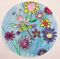 """Dragonfly in the Garden - """"First graders carefully observed the parts of a dragonfly as we drew it together step by step. Large, medium and small flowers were added to create a garden. A thick application of crayon resisted the watercolor sky. Classe D'art, First Grade Art, Spring Art Projects, Kindergarten Art Projects, Art Lessons Elementary, Art Classroom, Art Plastique, Art Activities, Teaching Art"""