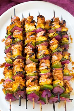 Hawaiian Chicken Kebabs with Ketchup, Dark Brown Sugar, Low Sodium Soy Sauce, Pineapple Juice, Olive Oil, Rice Vinegar, Garlic Cloves, Minced Ginger, Sesame Oil, Ground Black Pepper, Salt, Boneless Skinless Chicken Breast, Pineapple, Green Peppers, Red Onion.