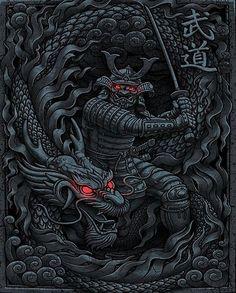 'Dragon Samurai' by Arte Ninja, Ninja Art, Ronin Samurai, Samurai Warrior, Dragon Samurai, Dragon Warrior, Japanese Artwork, Japanese Tattoo Art, Samourai Tattoo