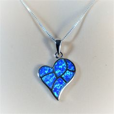 """Sterling Silver Blue Lab Opal Heart Pendant Necklace, 18"""""""