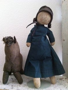 19th c Amish Doll & 19th c Amish Horse