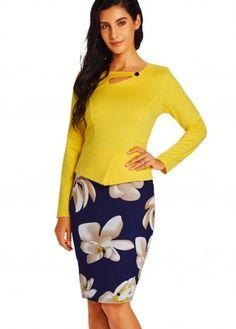 Yellow Long Sleeve Flower Print Dress on sale only US$28.74 now, buy cheap Yellow Long Sleeve Flower Print Dress at lulugal.com