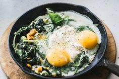 Baked Eggs with Spinach, Ricotta, Leek and Chargrilled Pepper - Izy Hossack - Top With Cinnamon Savory Breakfast, Breakfast Time, Breakfast Recipes, Spinach Egg, Spinach Ricotta, Spinach Leaves, Lunch Recipes, Cooking Recipes, Healthy Recipes