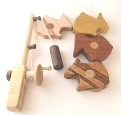 Wooden toy FISH PLAY SET Natural Colorful by SasiShop on Etsy, $29.95