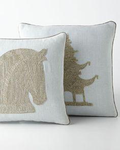 -53FQ Jonathan Adler Beaded Linen Pillows