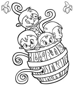 Cute Monkey Coloring Pages Printable 1200x1600 Pixels