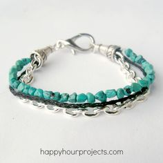 Mixed Media Turquoise Bracelet