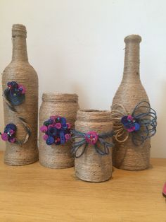 Wine bottles, twine and buttons