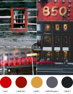 Gold Grey Red and Black color schemes  #color #colorpalette #colorscheme