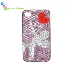 Handmade hard case, back cover for iPhone 4 & 4S: Bling cupid and heart (custom are welcome)