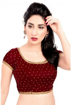 dcfc266d7c363 red Color Velvet Readymade Function Wear Blouses ( Sizes - 32