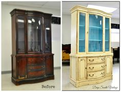 Before and after Vintage bow front Drexel china cabinet.  Painted in Miss Lillian's No Wax Chalk Paint. See more at www.facebook.com/deepsouthrecreations.