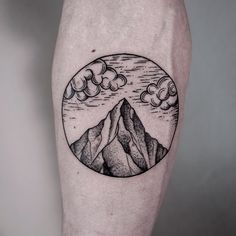 Mountains-And-Clouds-In-Circle-Tattoo-On-Forearm.jpg (640×640)
