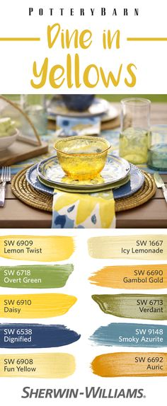 From pale Icy Lemonade SW 1667 to playful Daisy SW 6910 to bold Gambol Gold SW 6690, these yellows light up the dining room with cheerful warm hues. Cool secondary colors in the blue and green families help keep things pleasantly balanced. Find this palette in @Pottery Barn's Cabo Melamine Dinnerware, then draw those colors through your kitchen and dining room for an uplifting look.