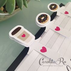 Coffee and donut planner accessories (set of 12 by letter sized sheet) by CarolitaRoPrintables PRINT AND CUT FILE