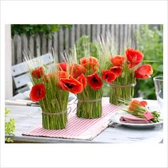 I love red poppies!  Great pairing idea with the green wheat; nice contrast