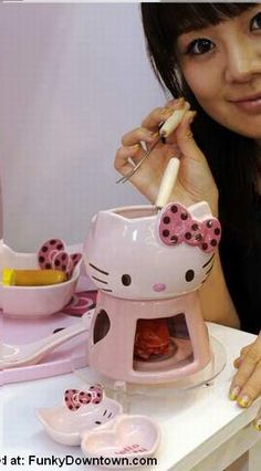 Of COURSE there's a fondue set. Why wouldn't there be a Hello Kitty fondue set? Hello Kitty Kitchen, Hello Kitty House, Hello Kitty Items, Sanrio Hello Kitty, Fondue, Girls Tea Party, Hello Kitty Collection, Cat Party, Rilakkuma