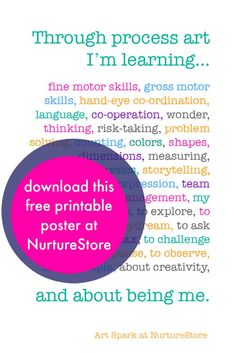 Free printable: what children learn through art :: the benefits of process art :: process art ideas for kids
