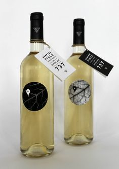 This packaging was created by designer Lily Thury as part of a competition for Hungarian winery Csetvei Pince. The black and white wine leaves look like arial views of streets with the location marker representing the localness of the wine. Wine Bottle Tags, Wine Tags, Wine Bottles, Wine Decanter, Wine Bottle Design, Wine Label Design, Wine And Liquor, Wine And Beer, Design Da Garrafa