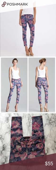 Joe's Jeans The High Water Tainted Rose Jeans A step beyond the colored denim trend, these jeans boast an arresting pattern, played back to a streamlined, cropped fit,  in rose-print stretch denim. Fitted through skinny legs. Cropped at ankle. Classic 5 pocket style. Button/zip fly; belt loops. Lyocell/cotton/rayon/polyester/spandex. In great used condition apart from from some undone seams on the back, not noticeable when worn.  Waist - 27 in. Hips - 32 in. Rise - 8 in. 