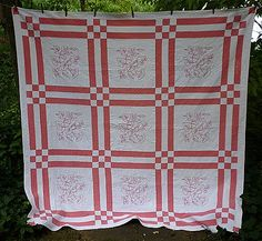 Pink and White Embroidered Morning Glory Quilt Vintage 1930's