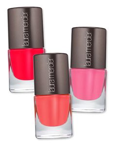 #LauraMercier Nail Lacquer in Sizzle, Cabana and Flamingo, $18 each http://www.instyle.com/instyle/package/general/photos/0,,20574645_20572229_21121627,00.html
