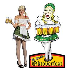 #Oktoberfest cute tavern girl standee features your choice of personalized wording.