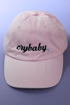 Crybaby Light Pink Baseball Cap ~ Reminds me of Melanie Martinez ❤ Pink Baseball Cap, Embroidered Baseball Caps, Baseball Hats, Baseball Scores, Melanie Martinez, Pastell Fashion, Cute Caps, Hat Hairstyles, Cool Hats