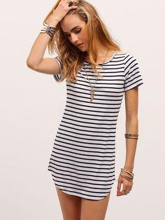 Black White Striped Curved Hem T-shirt Dress