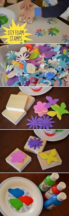 I think this would work better than bottle caps.Fun to Try: DIY Wooden Crafts DIY Foam Stamps I wonder if you could cut out the shapes with a Cricut? Cool Diy Projects, Projects For Kids, Diy For Kids, Craft Projects, Craft Ideas, Diy And Crafts, Crafts For Kids, Arts And Crafts, Paper Crafts