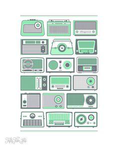 Retro Radio Letterpress Print by 55 Hi's. inspiration for DIY christmas presents!!