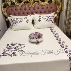 Image may contain: indoor Embroidery Flowers Pattern, Hand Embroidery Designs, Bed Sheet Curtains, Bed Sheet Painting Design, Designer Bed Sheets, Embroidered Bedding, Crochet Bedspread, Bedclothes, Macrame Design