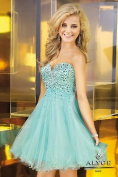 Cheap Prom and Homecoming Dresses Online Shop Alyce Paris 3571 Light Blue Short Homecoming Dress [Alyce Paris - Style: Details: Beaded Embellishment Bust Fabric: Tulle Length: Short Neckline: Strapless Sweetheart Waistline: Natural
