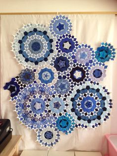 English paper-pieced quilt top based on the book, Millefiori Quilts by Willyne Hammerstein.